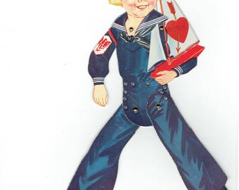 Vintage Valentine 1940's Sailor Girl Flirty Eyes Articulated Arms Legs   Bell Bottom Trousers