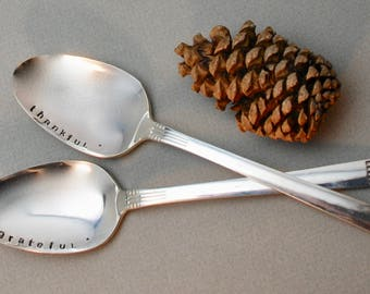 THANKFUL & GRATEFUL hand stamped SPOONS for Holiday table - Set of 2 - New Silver Plate
