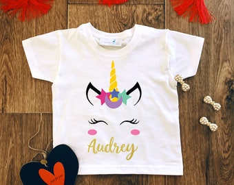 Girls Unicorn Shirt,Personalised T-Shirt,Birthday Gift,Unicorn Birthday Gift,Unicorn Shirts,Girls Unicorn Shirts,Girl Shirt,Unicorn Party