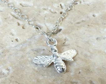 Silver Bee Necklace - Solid Sterling 925 Worker Bee Honey Bumble Bee Queen Busy Bee Pendant Charm