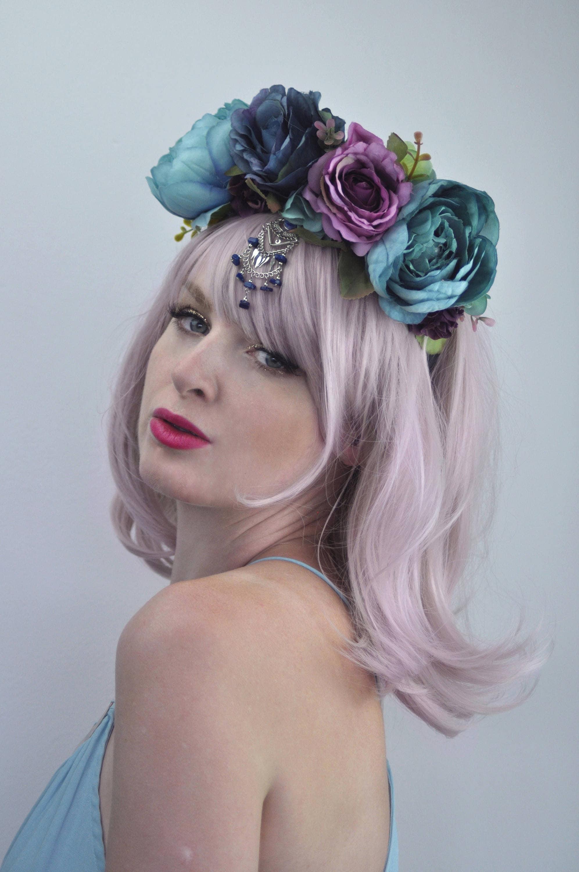 Hair accessories sara jewelled flower headband blue flower crown floral headpiece peony headband izmirmasajfo