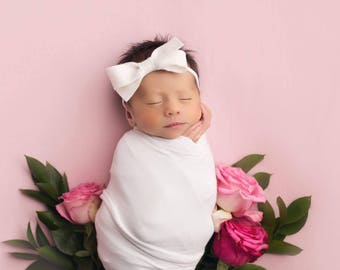 Baby Headband, Newborn Headband, White Bow, Baby Bows, Baby Girl Headband, Felt Headband, Baby Hair Bows, Felt Bows, Girls Hair Bows, Baby