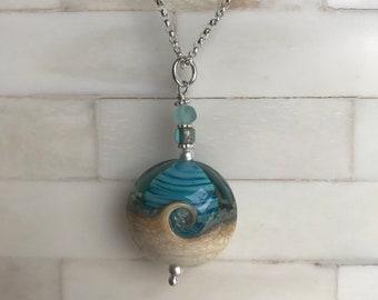 beach jewelry, ocean jewelry, beach necklace, aqua blue ocean wave and starfish necklace, ocean wave lampwork bead pendant necklace, USA