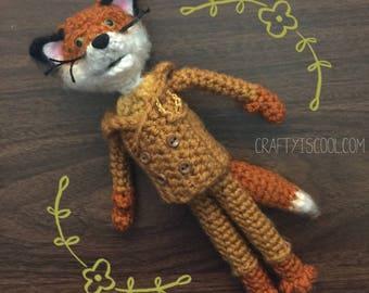 Mr. Fox amigurumi PATTERN Fantastic Crochet Fan Art