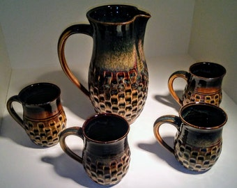 Gold and Brown Pitcher Set