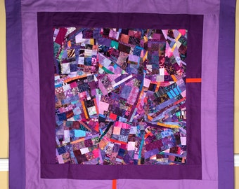 Purple Fine Art Quilt Collage//Modern Art Quilt Wallhanging//FREE SHIPPING