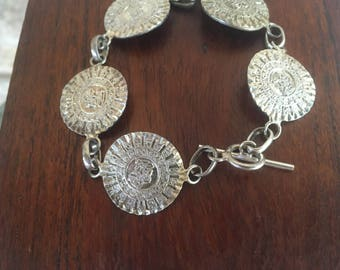 Mexican Bracelet Mayan Calendar Bracelet Sterling Silver Mexican Coin Bracelet Mexico Jewelry