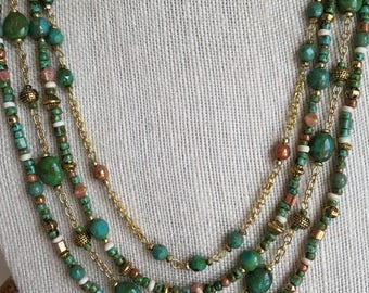 Green turquoise and gold multistrand beaded necklace