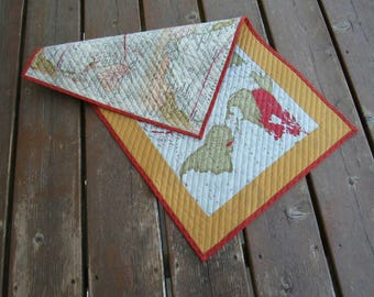 Table Runner, Table topper, quilted table runner, wall hanging, maps, geogpraphy, world map, earth, atlas, reversible