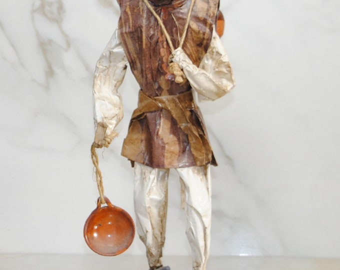 Vintage Folk Art, Paper-Mache, Sculpture, 1980s, Oriental Peasant Man, Made in Mexico, Mexican Folk Art, Hand Crafted, Hand Painted, Unique