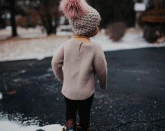 Moss Beanie Baby/Kids || Hand Knit || Customizable || Quick shipping