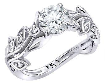 Almani Fleur De Vine Platinum Diamond Engagement Ring (1.20ctw.)