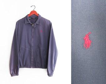 vintage jacket / POLO jacket / 90s windbreaker / 1990s navy Polo Ralph Lauren zip up windbreaker Medium