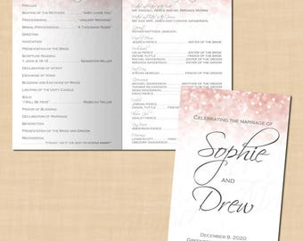 Pink Blush Glitter Wedding Program Booklet (Folds to 5.5 x 8.5): Text-Editable in Microsoft® Word, Printable Instant Download
