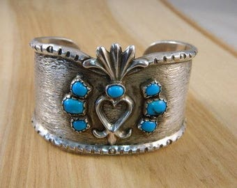 Huge Native American Turquoise Sterling Silver Bracelet / Large Indian Cuff / Vintage Blue Turquoise Heart Jewelry