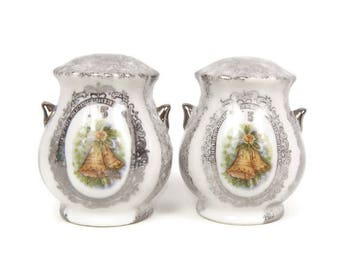Vintage 25th Anniversary Salt and Pepper Shakers Silver Anniversary Gift Enesco Made in Japan A