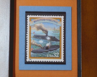 Vintage Framed Postage Stamp - The Monitor and the Virginia - No. 2975a