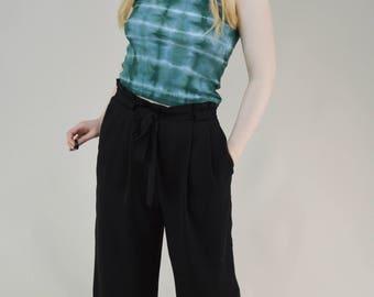 90s Grunge Festival Green Tie Dye Cotton Crop Tank Top XS / S