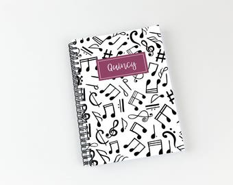 Writing journal, soft cover, book, blank spiral notebook, sketchbook, paper for notes, custom - music notes