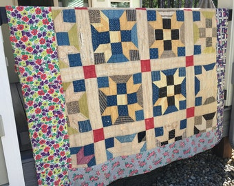 Vintage Early 1900's Crafters Quilt, Primitive Quilt, 8 Point Star Quilt