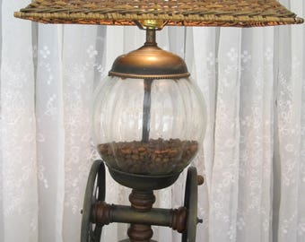 Vintage 60's faux coffee bean grinder lamp and wicker shade
