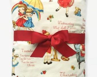 Baby Girl Blanket - Girls Crib Bedding - Retro Baby Blanket - Baby Girl Gifts - Minky Blanket - Custom Baby Blankets  - Toddler Blanket