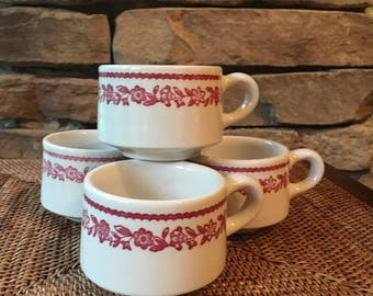 Coffee Mugs, Four Cheery Red Floral Restaurant Ware Cups Kenmore by Buffalo China ca. 1960s