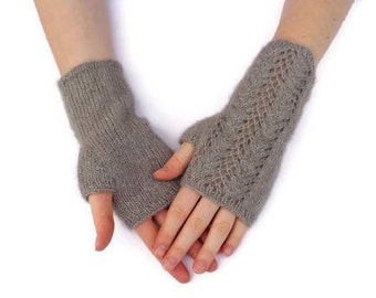 Lace Fingerless Gloves, Hand Knit, Cashmere Silk Possum, Gray Brown, Luxury Gloves, Fingerless Mitts, Wrist Warmers