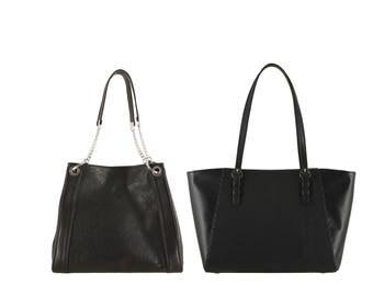 Leather shoulder bag GITTA, AMY small // black, ostrich effect (Italian calf skin) - FREE shipping, unique bag
