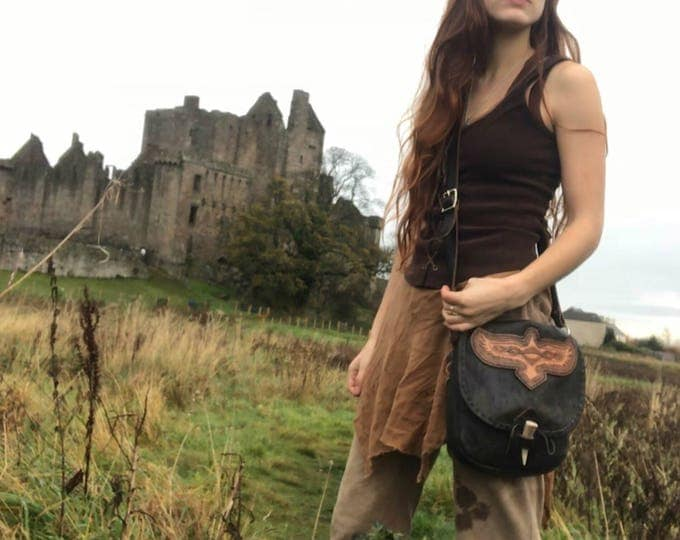 Celtic Raven Leather Bag, Large Medieval Renaissance Fantasy Purse, Cross Body Strap, Deluxe - MADE TO ORDER