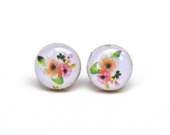 White Summer floral studs flower studs summer outdoors post earrings flower earrings wood earrings wood earrings spring jewelry for her