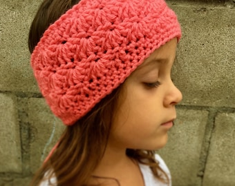 Shell Stitch Coral Head Wrap
