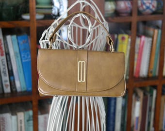 Air Step 60s boxy handbag /handle top flap camel brown purse / true vintage sixties Jackie O small mini bag