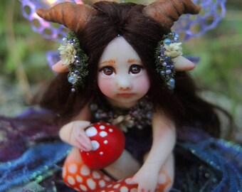 Cute and Tiny Horned Woodland Fairy Faerie || Celia Anne Harris || OOAK