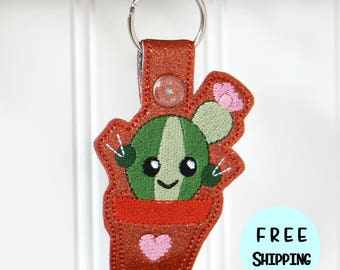 Cactus - Cactus Key Fob - Cactus Gift - Cactus Charm - Cactus Keychain - Succulent Gift - Teacher Gift - Gifts under 10 Dollars - Keyring