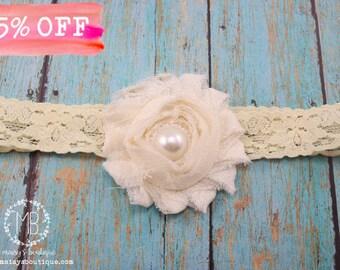 Ivory Lace Pearl Headband/Ready to Ship/ Baby Headband/ Flower Girl Headband/ Photo Prop