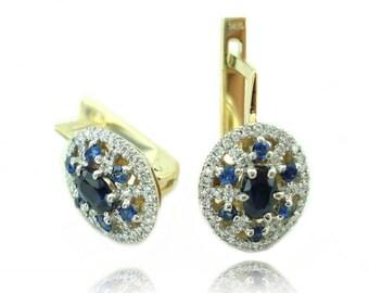 Sapphire Earrings, Sapphire and Diamond Earrings, Wedding Earrings, Bridal jewelry, Lever Back Diamond Earrings, Fast Free Shipping