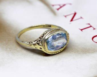 JR Wood & Sons 3ct Aquamarine Engagement Ring, Edwardian 14k Gold Aquamarine Ring, Antique Anniversary Ring, Alternative Engagement Ring