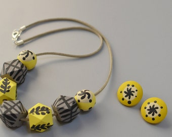 The 'Lucienne' Collection - Lemon & Oyster Necklace and Earring Set