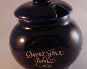 Blue Mustard Pot with Cover Queen's  Silver Jubilee 1977 The Mustard Shop Norwich England MINT