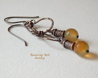 Summer Agate Earrings, Small Stone Drop in Orange and Green Citrus Color on Copper Dangle, Everyday Bohemian Earrings, Lightweight