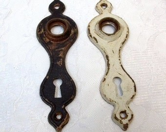 Pair of Antique Tudor Door Plates Shabby Chic Door Escutcheon Old Door Hardware Restoration Chippy Paint Gothic Hardware 1920s 1930s DD 1387