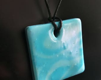 Blue waves - pendant, handmade from polymer clay
