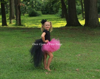 Hot Pink and Black Bustle Tutu - Girls Size 3 6 9 12 Months 2T 3T 4T 5T 6 7 8 10 12 Adult - Girly Exotic Flamingo Bird Halloween Costume