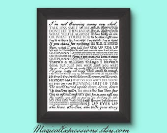 Hamilton Gifts on your list?  This musical typography print will put you at #1!  Don't throw away your shot :)