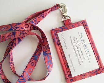 Lanyard ID Holder,  Purple and Coral  Batik Cotton Clip On ID Holder with Hidden Cash Stash and Matching Lanyard