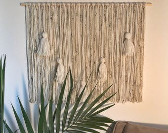 Ivory Yarn Wall Hanging with Tassels