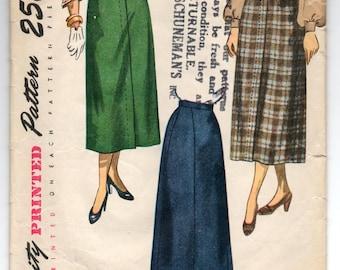 """1950's Simplicity A-Line Skirt Pattern - Waist 24"""" - no. 2624"""