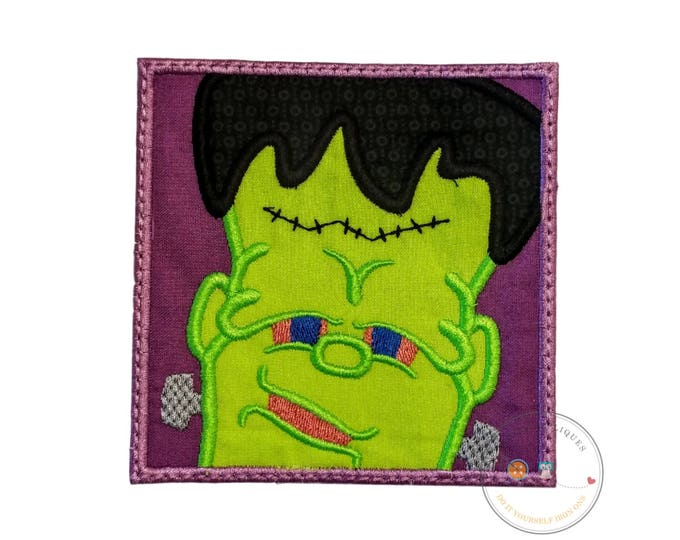Frankinstien in a square fram iron on applique- no sew machine embroidered Halloween patch-DIY boutique fashions- ready to ship