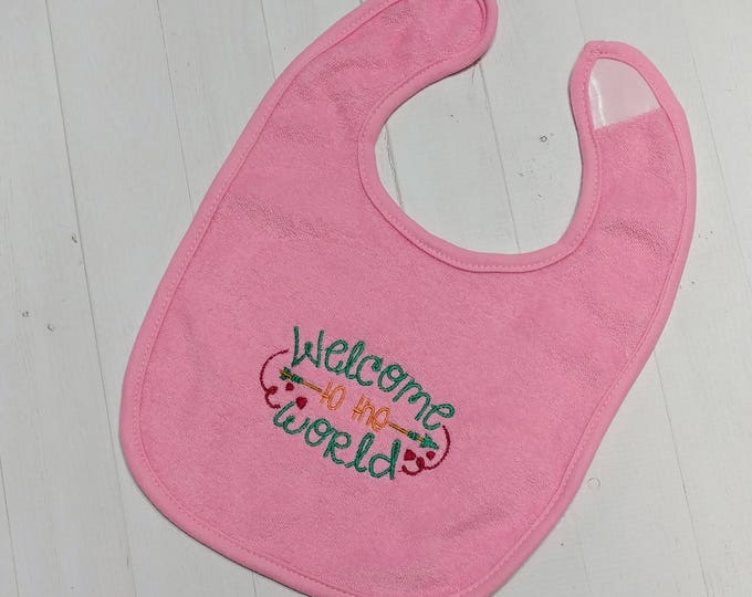 Welcome into the World soft pink embroidered Koala Baby cloth baby bibs for 6-12 month old girls